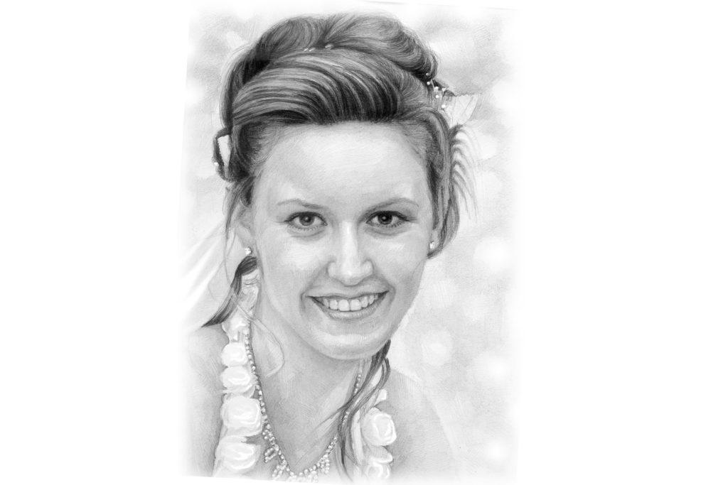 Hochzeitsportrait Zeichnung